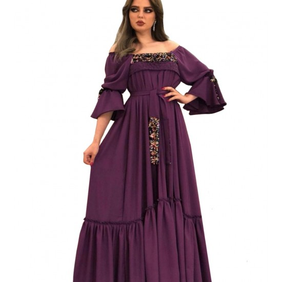 Sequin embroidered purple dress with separate fabric belt